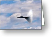 Fighter Jets Greeting Cards - Breaking Through Greeting Card by Adam Romanowicz