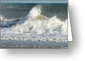 Oceano Greeting Cards - Breaking Waves Greeting Card by Anahi DeCanio