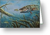 Canada Painting Greeting Cards - Breakline Hunter Musky Greeting Card by JQ Licensing