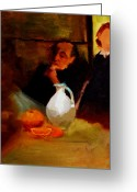 Chin On Hand Greeting Cards - Breaktime with Oranges and Milk Jug Man Deep in Philosophical Thought with Mysterious Boy Servant Greeting Card by M Zimmerman MendyZ