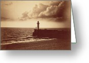 Grey Clouds Greeting Cards - Breakwater at Sete Greeting Card by Gustave Le Gray