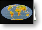Co2 Greeting Cards - breathing Earth Co2 Input/output, Global Map Greeting Card by Nasa