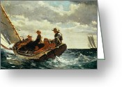 Hat Greeting Cards - Breezing Up Greeting Card by Winslow Homer