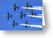 Airplanes Greeting Cards - Breitling air display team L-39 Albatross Greeting Card by Nir Ben-Yosef