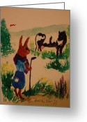 Nursury Greeting Cards - Brer Rabbit has a problem Greeting Card by Lynn Beazley Blair
