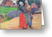 Gossiping Greeting Cards - Breton Peasants Greeting Card by Paul Gauguin