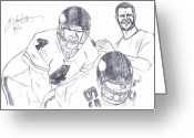 Hall Of Fame Greeting Cards - Brett Favre Greeting Card by HPrince De Artist 