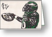 Philadelphia  Drawings Greeting Cards - Brian Westbrook 2 Greeting Card by Jeremiah Colley