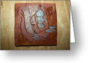 Uganda Pottery Greeting Cards - Briana - tile Greeting Card by Gloria Ssali