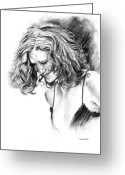 White Dress Drawings Greeting Cards - Briana Greeting Card by Tom Hedderich