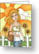 Nora Blansett Painting Greeting Cards - Briannas Sunflowers Greeting Card by Nora Blansett