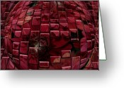 Black Print Greeting Cards - Brick Red Greeting Card by Evelyn Patrick