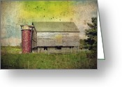 Silo Greeting Cards - Brick Silo Greeting Card by Kathy Jennings