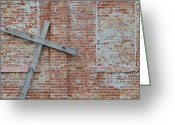 Forgotten Greeting Cards - Brick Wall Cross Greeting Card by Nikki Marie Smith