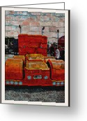 Truck Shows Greeting Cards - Brick Wall Semi Greeting Card by Randy Harris