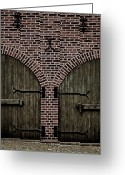 Cobblestones Greeting Cards - Brick Zipper Greeting Card by Odd Jeppesen