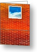 Ronnie Glover Greeting Cards - Bricks Sky Window Greeting Card by Ronnie Glover