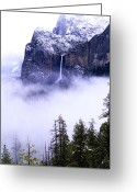 National Pyrography Greeting Cards - Bridal Veil Falls in the Clouds Greeting Card by Mark Wilburn