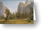 Bierstadt Greeting Cards - Bridal Veil Falls Yosemite Valley California Greeting Card by Albert Bierstadt