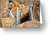 Rock Formation Greeting Cards - Bridalveil Fall In Yosemite Np Greeting Card by Sankar Raman