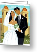 Young Men Greeting Cards - Bride And Groom Greeting Card by Harry Briggs