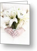 Holding Flower Greeting Cards - Bride and Lilies Greeting Card by Stephanie Frey