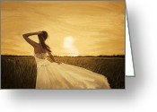 Young Pastels Greeting Cards - Bride In Yellow Field On Sunset  Greeting Card by Setsiri Silapasuwanchai
