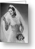 Tulle Greeting Cards - Bride Posing In Studio, (b&w), Portrait Greeting Card by George Marks