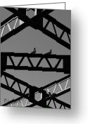 Black And White Abstract Greeting Cards - Bridge Abstract Greeting Card by Bob Orsillo