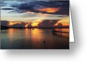 Jensen Beach Greeting Cards - Bridge at Dawn Greeting Card by Joyce L Kimble
