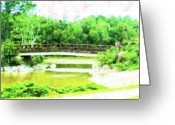 Florida Bridge Mixed Media Greeting Cards - Bridge At Morikami Greeting Card by Florene Welebny