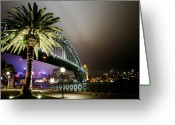 Sydney Harbour. Circular Quay Greeting Cards - Bridge by Night Greeting Card by Kirsten Chee