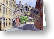 Library Greeting Cards - Bridge of Sighs. Hertford College Oxford Greeting Card by Mike Lester