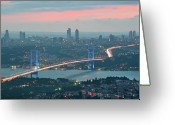 Building Greeting Cards - Bridge Over Bosphrous Greeting Card by Salvator Barki