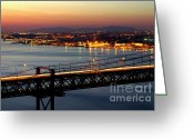 Passage Greeting Cards - Bridge Over Tagus Greeting Card by Carlos Caetano