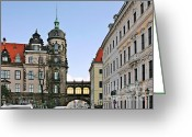 Old Bridge Greeting Cards - Bridge over Taschenberg Street Dresden Greeting Card by Christine Till