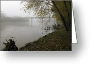 Scottsville Greeting Cards - Bridge Over the James River in Fog  Scottsville Virginia Greeting Card by Richard Singleton