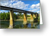 Spokane Mixed Media Greeting Cards - Bridge over the Spokane River - Scenic Washington Greeting Card by Photography Moments - Sandi