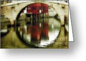 Water Reflections Greeting Cards - Bridge over the Tong - Qibao Water Village China Greeting Card by Christine Till