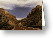 Yellow Line Greeting Cards - Bridge Over The Virgin River By Moonlight Greeting Card by Ed Leckert