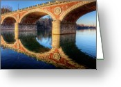 No People Greeting Cards - Bridge Reflection On River Greeting Card by Andrea Mucelli