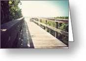 Florida Bridge Greeting Cards - Bridge to Paradise-Vintage Greeting Card by Chris Andruskiewicz