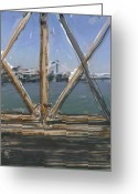 Brooklyn Bridge Mixed Media Greeting Cards - Bridge View Greeting Card by Russell Pierce