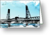 Pdx Art Greeting Cards - Bridge Watercolor Greeting Card by Cathie Tyler