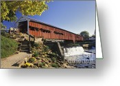 Indiana Autumn Photo Greeting Cards - Bridgeton Covered Bridge - FM000064 Greeting Card by Daniel Dempster