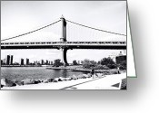 Blackandwhite Greeting Cards - Bridging Boroughs Greeting Card by Natasha Marco