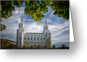 Mormon Temple Photography Greeting Cards - Brigham City Temple Leaves Arch Greeting Card by La Rae  Roberts