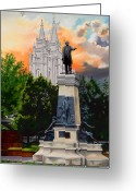Salt Lake City Temple Painting Greeting Cards - Brigham Young Monument Greeting Card by Lester Nielsen