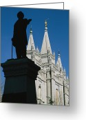 Angel Moroni Greeting Cards - Brigham Young Statue Frames The Jesus Greeting Card by Stephen St. John