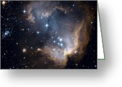 Hubble Greeting Cards - Bright Blue Newborn Stars Blast A Hole Greeting Card by ESA and nASA